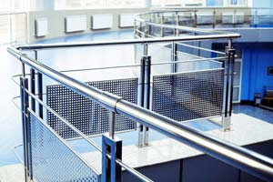 Stainless steel balustrade with perforated plate infill panels