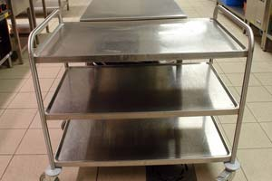 Stainless steel preparation trolley unit