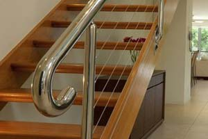 Stainless steel balustrade with wire rope infills